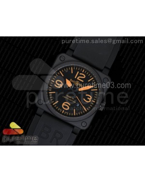 BR 03-92 PVD Black Dial Orange Markers on Black Rubber Strap MIYOTA 9015