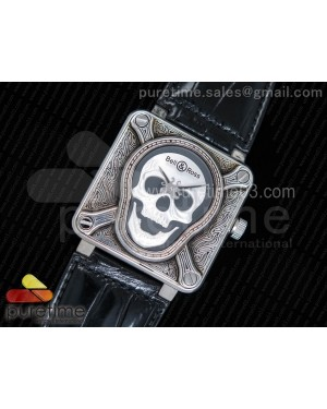Bell & Ross BR01 Silver Case Burning Skull 'Tattoo' Watch Silver Dial on Black Leather Strap MIYOTA 9015