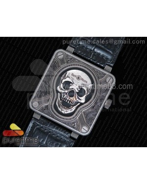 Bell & Ross BR01 Burning Skull 'Tattoo' Watch Antique Dial on Black Leather Strap MIYOTA 9015