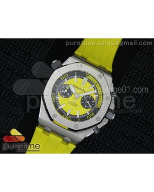 Royal Oak Offshore Diver Chronograph Yellow Noob Best Edition on Yellow Rubber Strap A3126