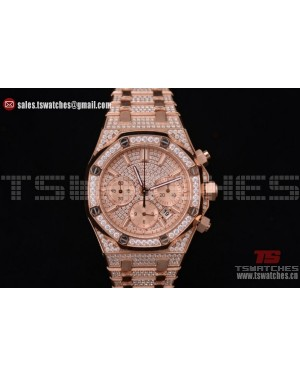 Audemars Piguet Royal Oak Chronograph Diamonds Dial RG/RG - 7750 Auto (EF)