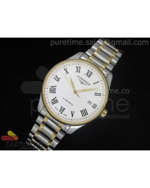Master Automatic SS/YG White Dial Roman Markers on Bracelet A2824