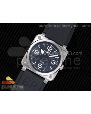 BR 03-92 Steel 1:1 Best Edition on Black Rubber Strap MIYOTA 9015 V3