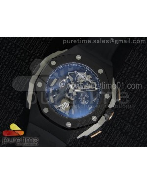 Royal Oak Concept Chrono PVD Black Skeleton Dial PVD Bezel on Black Rubber Strap Jap Quartz