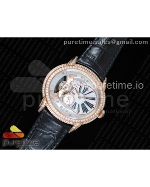 Millennium Series 15350 RG V9F 1:1 Best Edition Diamonds Bezel White Dial Black Markers on Black Leather Strap A4101