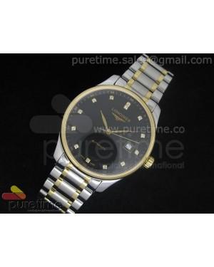 Master Automatic SS/YG Black Dial Diamond Markers on Bracelet A2824