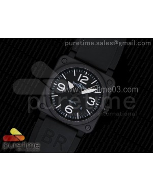 BR 03-92 PVD Black Dial White Markers on Black Rubber Strap MIYOTA 9015