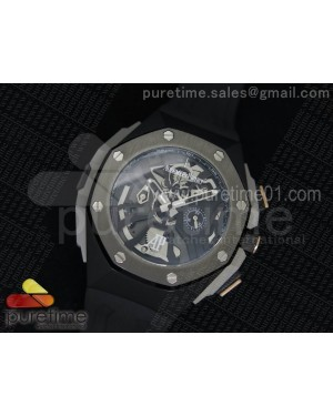 Royal Oak Concept Chrono PVD Black Skeleton Dial Gray Bezel on Black Rubber Strap Jap Quartz