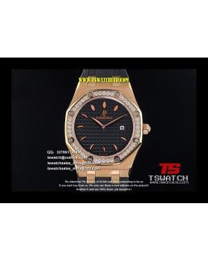 AU17391 - Royal Oak 33mm Ladies Black Dial Diamond RG LT RONDA Quartz
