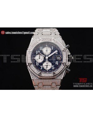 Audemars Piguet Royal Oak Offshore Chrono Seiko VK67 Quartz SS/Diam Blue Dial