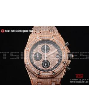 Audemars Piguet Royal Oak Offshore Chrono Seiko VK67 Quartz RG/Diam Rose Gold/Diamonds Dial