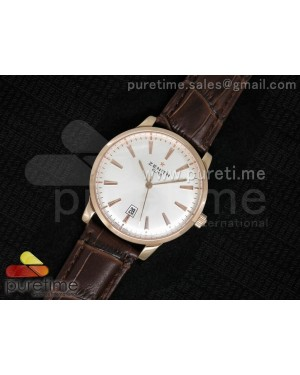 Elite Captain RG White Dial on Brown Leather Strap A2824