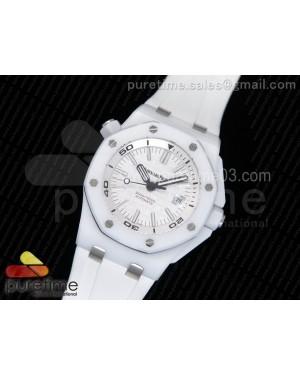 Royal Oak Offshore Diver White Lite Ceramic White Dial on White Rubber Strap A3120
