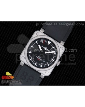 BR 03-92 Horograph Black Dial on Black Rubber Strap MIYOTA 9015