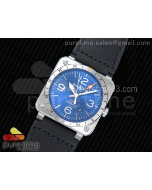BR 03-93 GMT SS 1:1 Best Edition Blue Dial on Black Leather Strap A2836
