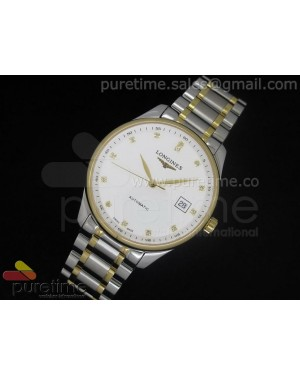 Master Automatic SS/YG White Dial 2 Diamond Markers on Bracelet A2824