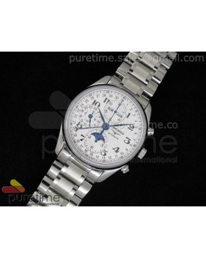 Master Moonphase Chronograph SS White Dial on Bracelet A7751