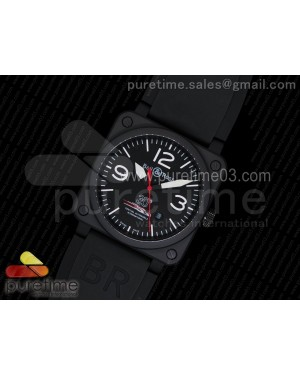 BR 03-92 PVD Black Dial White Markers Red Hand on Black Rubber Strap MIYOTA 9015