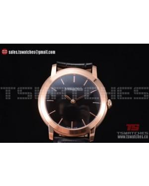 Audemars Piguet Jules Audemars Black Dial RG/LT Black Leather Strap - 3120 Auto(EF)