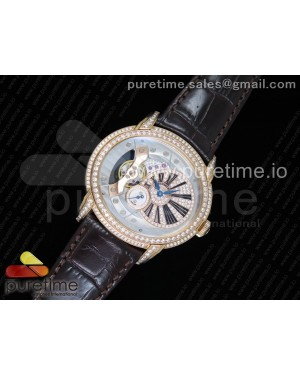Millennium Series 15350 RG V9F 1:1 Best Edition Full Diamonds Black Markers on Brown Leather Strap A4101