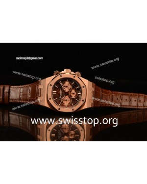 Royal Oak 7750 Rose Gold Case with Black Strap Brown Dial and Gold Subdials 1:1 Original EF