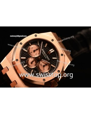 Royal Oak Chronograph Swiss 7750 Rose Gold Case Black Strap Black Dial Gold Three Subdials 1:1 Original EF
