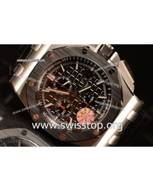 Royal Oak Offshore Black Dial 1:1 Clone With Black Leather Strap JF 26411PO.OO.A002CR.01