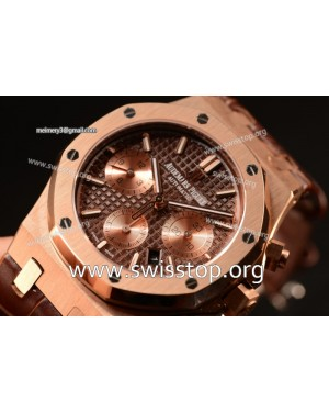 Royal Oak Chrono Rose Gold Case With Brown Dial 7750 Automatic Brown Leather 26331OR.OO.D821CR.01