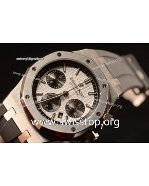 Royal Oak Chronograph White Dial With Black Sub Dial Strap Swiss Valjoux 7750 26331ST.OO.1220ST.03